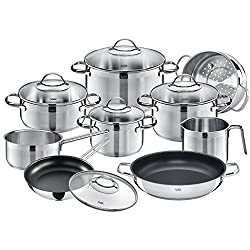 Silit Agate pot set 10-parts, pots with glass lid, induction pots, polished stainless steel, induction, uncoated, suitable for baking ovens