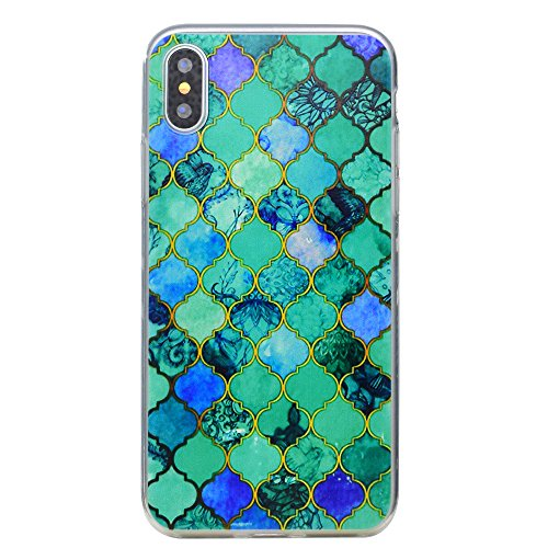 Cover iPhone X, Voguecase Custodia Silicone Morbido Flessibile TPU Transparent Custodia Case Cover Protettivo Skin Caso Per Apple iPhone X(fiore Skull 10) Con Stilo Penna diamante blu