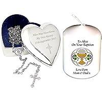Il mio primo Rosario e Croce Cuore Portagioie con una candela di personalizzata. Regalo per qualsiasi occasione cristiana - Cuore Rosario Croce