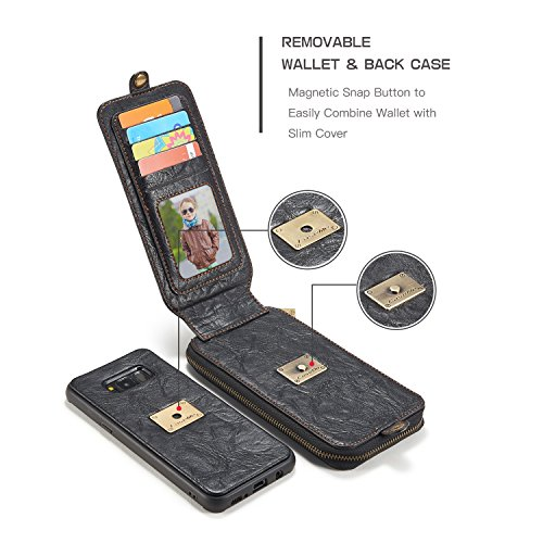 EKINHUI CaseMe Leder Wallet Case mit Magnetic PC + TPU Rückseitige Abdeckung, abnehmbare Folio, Bargeldhalter Zipper Design für Samsung Galaxy S8 Plus ( Color : Brown ) Black