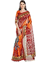 Florence Orange & Maroon Bhagalpuri Silk Printed Saree With Blouse