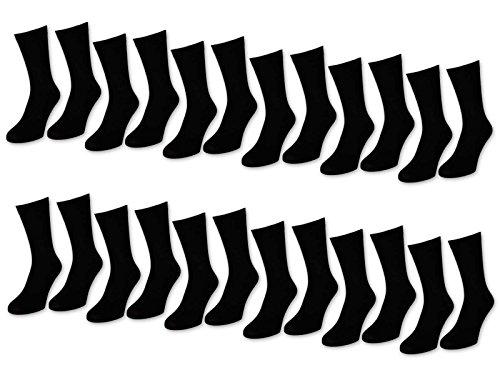 6 | 12 | 24 Paar Herrensocken Business Herren Socken Baumwolle Schwarz (43-46, 24 Paar | Schwarz)