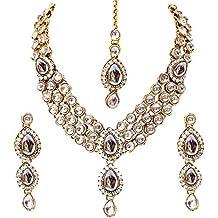 Shining Diva Fancy White Kundan Traditional Necklace Jewellery Set for Women(88646s)