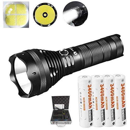 Lumen Wiederaufladbare Suchscheinwerfer LED Taschenlampe+4x3400 mAh 18650 Bundle (Bulk-taschenlampen)