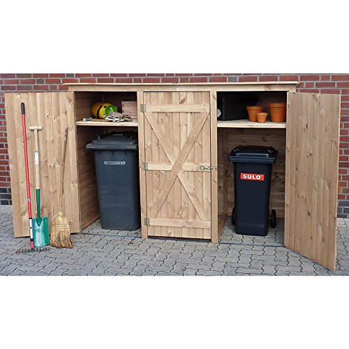 PROMADINO Mülltonnenbox, für 3×240 l aus Holz, B/T/H: 250/101/161 cm Natur - 2