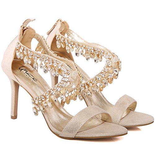 Unze Neue Damen Damen 'Reenam' Diamante verschönert schnüren bis Low Mid High Heel Abend, Hochzeit, Prom Party Schuhe Größen 3-8 - FEE1020-16 Gold