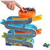 Brand Conquer Wooden Car Park Zig Zag Car Slide-with 4 Wooden Cars & Roof Top Car Park Playsets-Click clack Track Wooden…