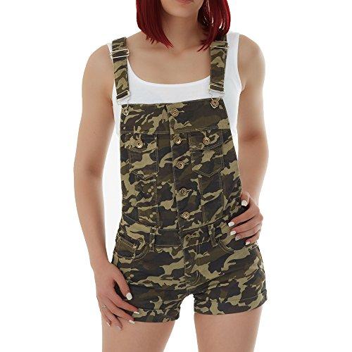 malucas Damen Jeans Shorts Hotpants Kurze Hose Latzhose Jumpsuit Overall , Größe:38, Farbe:Mehrfarbig