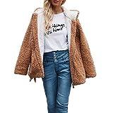 RYTEJFES Damen Warm Große Größe Teddy Coat Solid Hoodies Mäntel Faux Fleecejacke Reißverschluss Sweatshirt Frauen Faux Fur Cardigan Outdoors Strickjacken Plüschjacke Mit Taschen