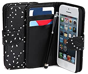 Iphone 4/4G/4S - Black Diamond Leather Wallet Flip Case Cover Pouch By Connect Zone®