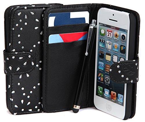 Iphone 4/4 g/4S Motif diamant Noir Étui portefeuille en cuir avec porte-Connect Zone ®