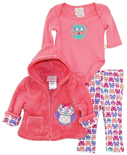 duck-goose-baby-girls-owl-sherpa-hooded-jacket-bodysuit-3pc-leggings-set-knockout-pink-3-6-months