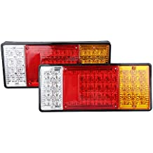 2 Pcs Piloto Trasero luz 44 LED Luz Trasera Bombilla Freno Trasera- Impermeable - para vehículos de carga pesados, camión, remolque, semirremolque