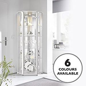 51Yh2LMNW6L. SS300  - HOME Corner Glass Display Cabinet White with 4 Glass Shelves, Spotlight & Mirror Back Panel