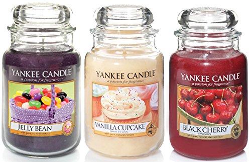 Preisvergleich Produktbild Offizielles Yankee Candle Sweet Treat Favourites Set von 3Classic Signature Große Gläser–Jelly Bean, Vanilla Cupcake, black cherry