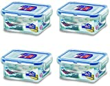 Set of 4 Lock and Lock 180 millilitres Rectangular Plastic Food Container HPL805