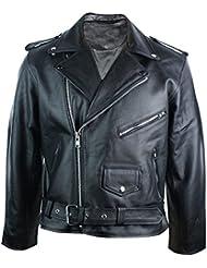 Blouson homme 100% cuir véritable noir style Brando coupe classique rétro biker