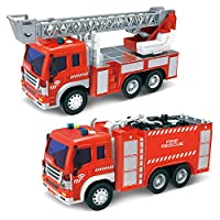 Fire Engine Toy Cars for Boys Friction Power Inertial Fire Truck with Lights and Sounds Eco Material Safe for kids Toddlers (Set of 2)