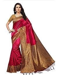 Fabwomen Sarees Kalamkari Red And Multi Coloured Mysore Silk With Tessals Fashion Party Wear Women's Saree/Sari...