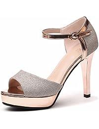 GTVERNH Chaussures pour femmes/été/11Cm Sandales À Talons Talons Mince Ceinture Orteils Creux Joker Les Chaussures De Femmes.Trente - Huit Black 3pJgcet2L2