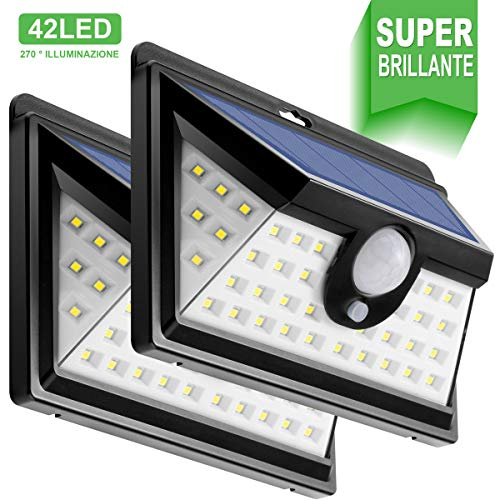 Luce Solare Led Esterno [42LED x 2], Gran\'t Luci Solari IP64 Impermeabile 270° Lampada LED Solari Parete con Sensore di Movimento per Giardino, Vialetto, Percorso e Cortile