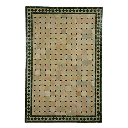 Mediterraner Gartentisch marokkanischer Mosaiktisch 120x80 cm rechteckig grün terrakotta mit Gestell H 75 cm  Kunsthandwerk aus Marrakesch  Dekorativer Balkontisch Bistrotisch Esstisch  MT2117