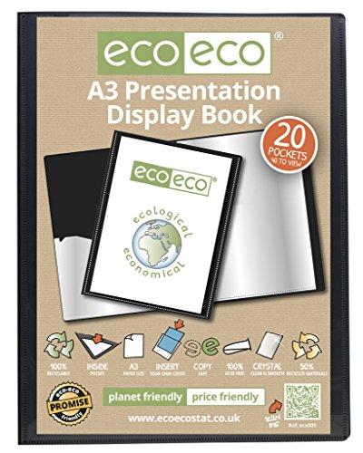 Carpeta de fundas eco-eco, formato A3, 50% reciclado, 20fundas/80caras, color negro