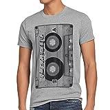 style3 DJ Kassetten T-Shirt Herren tape 80er kassette foto, Größe:XL;Farbe:Grau meliert