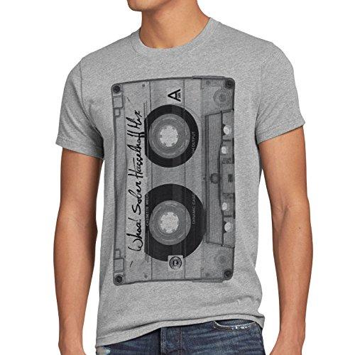style3 DJ Kassetten T-Shirt Herren tape 80er kassette foto, Größe:M, Farbe:Grau meliert