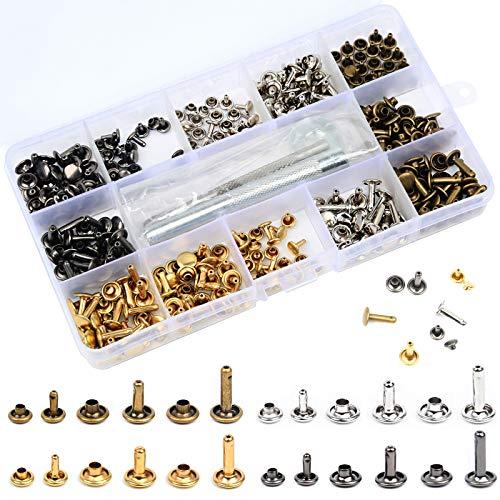 HAUSPROFI 180 Sets 3 Größen Leder Nieten Doppelkappe Niet Metall Ohrstecker mit 3 Stück Fixierwerkzeug für DIY Lederhandwerk Nieten Ersatz, 4 Farben