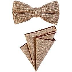 DonDon Pajarita para caballero 12 x 6 cm, atada y de tamaño ajustable, y pañuelo de bolsillo de 23 x 23 cm a juego de algodón marrón claro-blanco