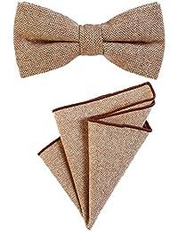 DonDon Herren Fliege gebunden längenverstellbar und Einstecktuch aus Baumwolle