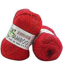 HUHU833 50g Bamboo Cotton Warm Soft Natural Knitting Wool Yarn (Red)