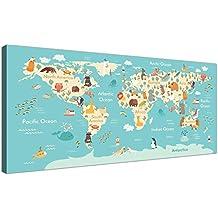 Animal mapa del mundo Atlas lienzo para habitación infantil–Educational Kids imágenes–diseño–120cm de ancho–1293