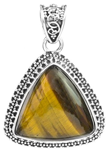 Exotic India Triangle Gemstone Pendant with Granulation - Sterling Silver - Color Tiger Eye