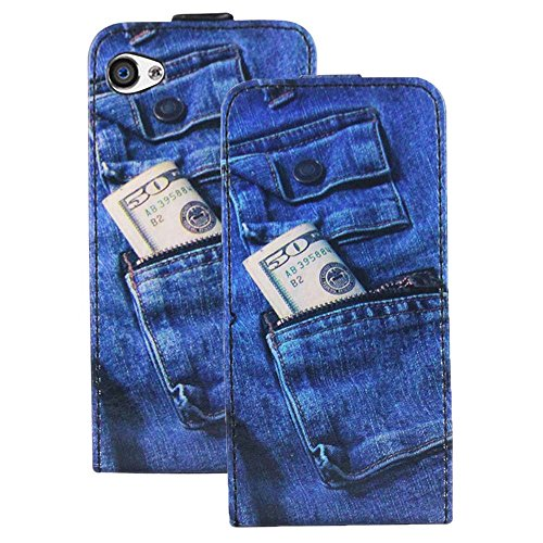 Heartly Designed Premium Luxury Pu Leather Flip Bumper Case Cover For Apple iPhone 4 4S 4G - JeansBlue  available at amazon for Rs.199