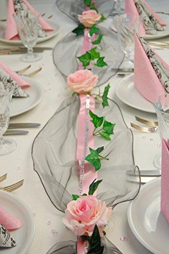 """Fibula [Style] ® Komplettset """"Silverline"""" Tischdekoration für Hochzeit/Taufe/Geburtstag/Kommunion/Konfirmation/Jubiläum in silber/rose` für ca. 8 - 10 Personen"""