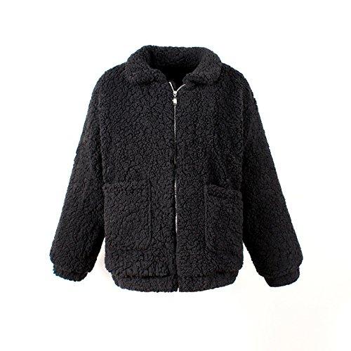 Beauty7 Damen Winter Teddy-Fell Mantel mit Taschen Langarm Plüschjacke Boyfriend Outwear Steppjacke Reißverschluß Kurzmantel Strickjacke Shirtjacke - Farbe: Schwarz - Größe: EU 36 (Lammwolle Überprüfen)