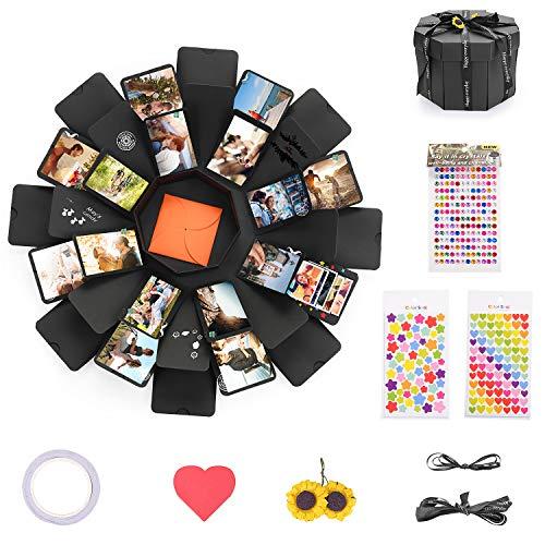 KATELUO Kreative Überraschung Box,Geschenkbox mit 8 Gesichtern,Handgemachtes Explosion Box DIY Geschenk Faltendes Foto-Album Scrapbook, für Geburtstag, Jahrestag,Valentinstag,Muttertag(schwarz) -