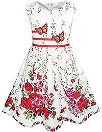 Mädchen Kleid Lila Rose Blume Doppelklicken Bogen Binden Party