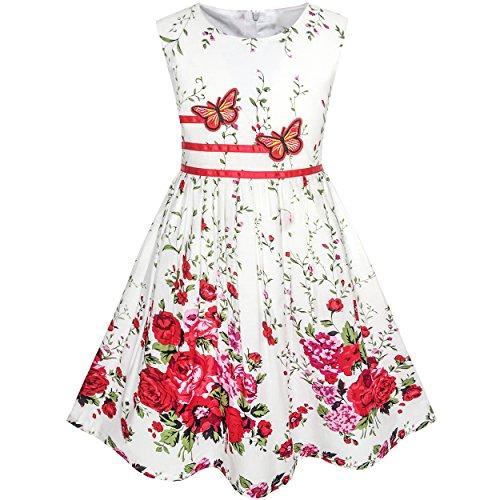 (Sunboree Mädchen Kleid Schmetterling Blume Gr. 98-104)