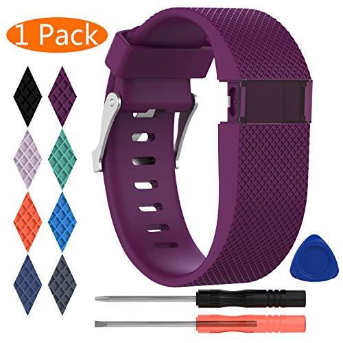 """Kingacc-Bracelet pour Fitbit Charge HR, bracelet de rechange en silicone, fermoir métallique, unisexe, grande et petite tailles, noir, orange, gris, bleu, violet, D# 1-Pack Plum, Large(6.2"""" - 7.9"""")"""