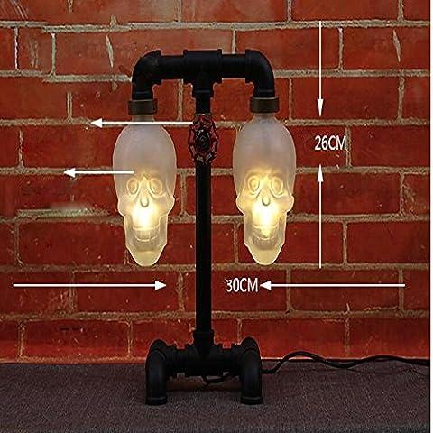 Lámpara de mesa de tubos industriales Vintage calavera LED
