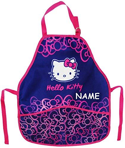 Unbekannt Kinderschürze -  Hello Kitty - Kätzchen  - incl. Namen - größenverstellbar mit 2 Taschen - Schürze / beschichtet - für Mädchen - Kinder - Backschürze / Bast.. -