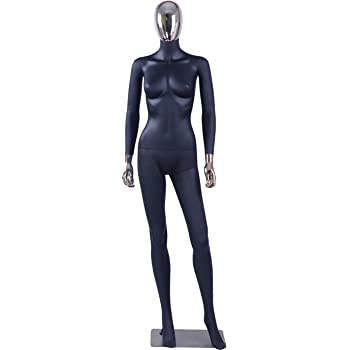 Arme und Kopf 360 Grad drehbar Schaufensterpuppe Eurohandisplay weibliche Schaufensterpuppe FC-4Black matt schwarz ohne Gesicht