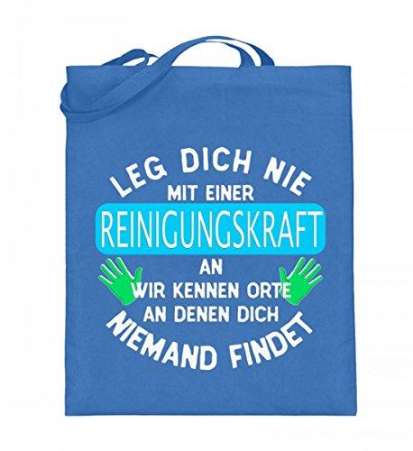 Hochwertiger Jutebeutel (mit langen Henkeln) - REINIGUNGSKRAFT KENNT ORTE Blau