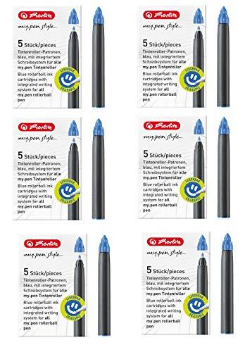 Herlitz 11378999 Tintenroller-Patronen my.pen, 5 Stück, blau (6er Pack, patronen my.pen)