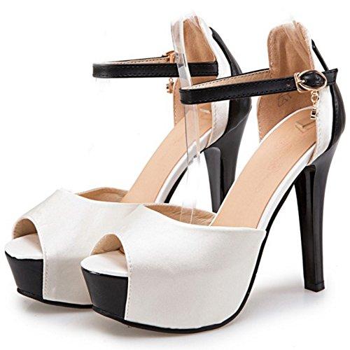 COOLCEPT Femmes Mode Cheville Sandales Peep Toe Talon Aiguille Chaussures Blanc