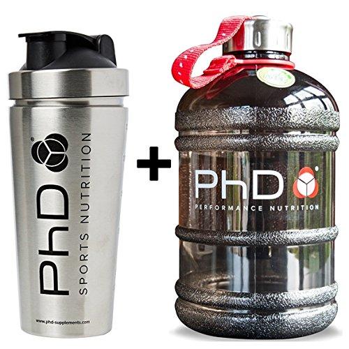 PhD Nutrition Nahrungsergänzungsmittel für Proteinshaker, Edelstahl-Mixer und 2 Liter Wasserflasche