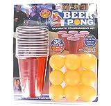 PMS 619028 - Juego de Beer Pong de 36 Piezas en Doble Embalaje, Color Rojo